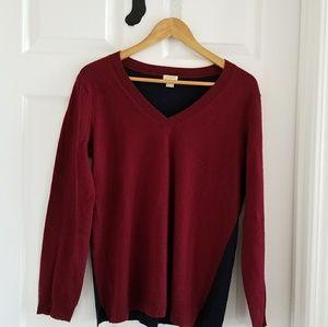 J. CREW Colorblock Tunic V-Neck Sweater Sz M